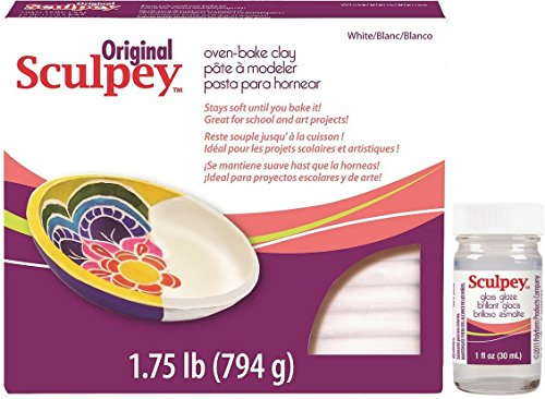 Sculpey and Gloss Bundle: Original 1.75 pounds of White Sculpey Oven-Bake Clay and 1 ounce of Gloss Glaze with free PDF of printable polymer clay how to tips (Craft Clay To Bake compare prices)