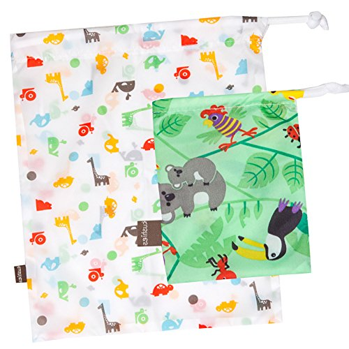 """Kushies """"On The Go"""" Wet Bag with Pacifier Pouch, Neutral Print"""