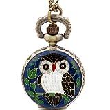 JewelryWe New Blue Night Owl Quartz Pocket Watch Pendant 31