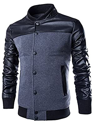Neleus Men's Stand Collar Leather Sleeves Slim Fit Button Jacket