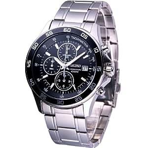 Seiko Men's Quartz Chronograph Watch SNDA75P1 with Stainless Steel Chrono Bracelet and Black Dial
