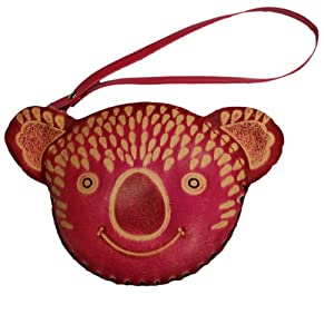 Hand made fuchsia pink smiling koala bear embossed GENUINE REAL LEATHER wristlet coin purse! Hand-made, hand stamped purse with zipper and removable wrist strap. High quality, hand stitched wristlet with adorable animal design!
