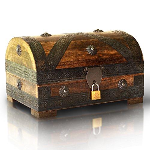 Piraten-Schatztruhe-von-Thunderdog-Holztruhe-braun-Handarbeit-Vintage-mit-Schloss-24x16x16cm-das-ideale-Geschenk-mittel-mit-Schloss