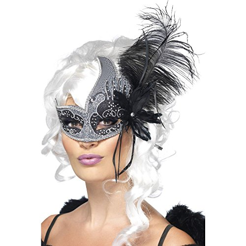 Smiffy's Women's Masquerade Dark Angel Eyemask with Tie Sides and Feathers with Tag Card, Black/Grey, One Size