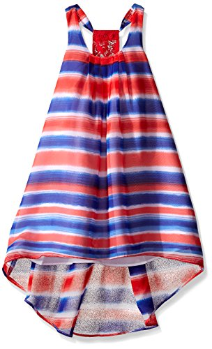 Bonnie Jean Toddler Girls Watercolor Stripe Chiffon Hi Low, Blue, 3T