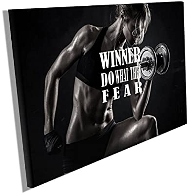 Fitness Motivation Posters Inspiration Quotes on Canvas Wall Hangings Decals Workout Bodybuilding Poster Wood Framed Waterproof size 12x18 inches CGmO29