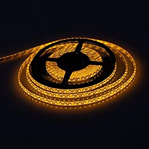 E-Goal 16.4FT 5M SMD 3528 Waterproof Double Density 600LEDs Yellow LED Flash Strip Light ,LED Flexible Ribbon Lighting Strip,12V by E-Goal