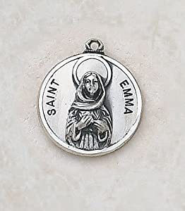 "Sterling Silver St. Emma 2/3"" Patron Saint St. Medal Pendant With 18"