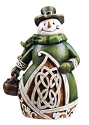 Celtic Charm Carved Woodcut-Style Irish Snowman Christmas Figure