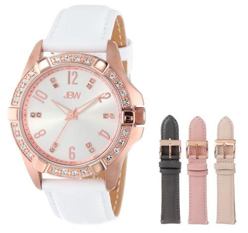 JBW Women's J6278-setC Rose Gold, Swarovski Crystal, Diamond, and White Leather Watch Set with Three Interchangeable Straps