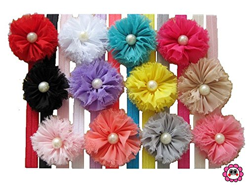 Qandsweet Baby Girl's Bead Flower with Headbands (12 Pack)