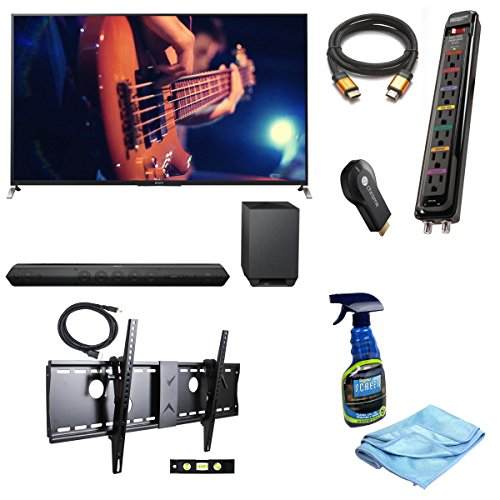 "Sony Kdl65W950B 65-Inch 1080P 120Hz 3D Smart Led Tv + Sony Htst7 Hd Soundbar With Wireless Subwoofer + Google Chromecast Hdmi Streaming Media Player + 3M High Speed Orange Gold Hdmi Cable For 2160P, 3D, And 4K + Focus 32""-70"" Tv Bracket Mount 165 Lbs Capa"