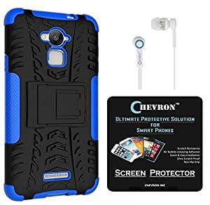 Chevron Tough Hybrid Armor Back Cover Case with Kickstand for Coolpad Note 3 with HD Screen Guard & Chevron 3.5mm Blue Stereo Earphones (Blue)