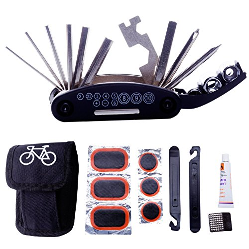 DAWAY A32 Bike Repair Tool Kits - 16 in 1 Multifunction Bicycle Mechanic Fix Tools Set Bag with Tire Patch Levers & Glue Best Christmas Gifts (Cycling Tools Kits compare prices)