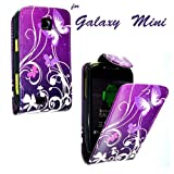 PU Leather Flip Case For SAMSUNG GALAXY MINI GT-S5570 S5570 VARIOUS DESIGNS + STYLUS PEN (PURPLE BUTTERFLY FLIP)