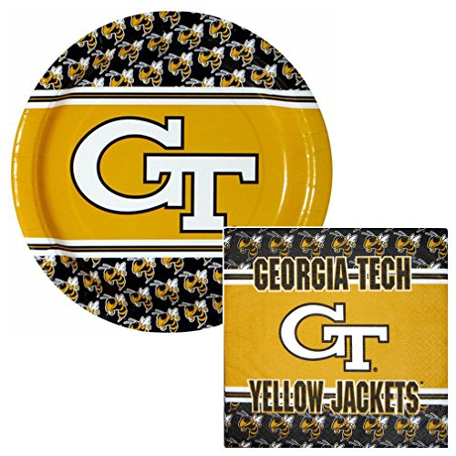Georgia Tech Yellow Jackets Lunch Napkins & Plates Party Kit for 8 - 1