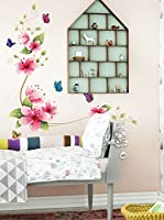 Ambiance-sticker Vinilo Decorativo Pink Flowers And Butterflies