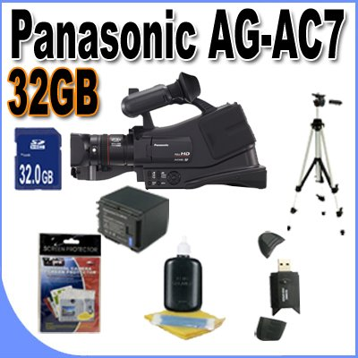 Panasonic AG-AC7 Shoulder Mount AVCHD Camcorder W/32GB SDHC Memory + Extra Extended Life Batteries + Ac/Dc Rapid Charger + USB Card Reader + Full Size Tripod + Deluxe Case w/Strap + Lens Pen Cleaner + Accessory Saver Bundle!