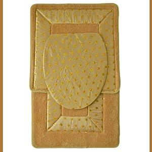 Amazon Com Gold 3 Piece Embroidered Bathroom Rug Mat Set