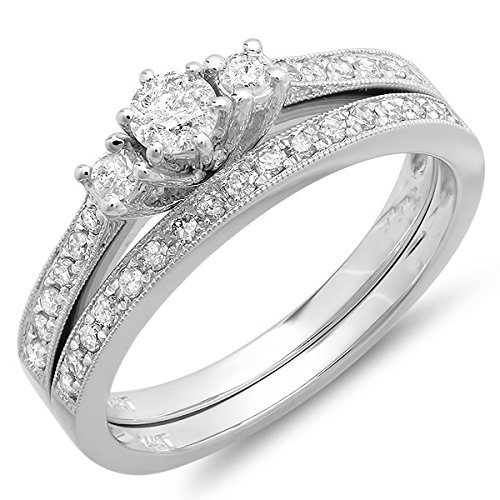 0.58 Carat Antique Diamond Wedding Set Round cut Diamond on 18K White gold