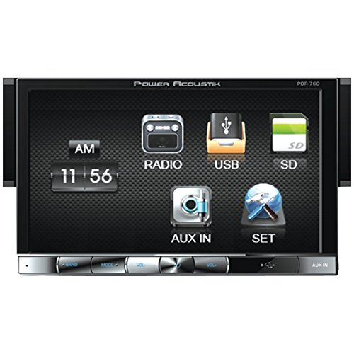 Power Acoustik Pdr-760 Single Din Digital Media Receiver With Motorized Hang Down 7-Inch Lcd Touch Screen