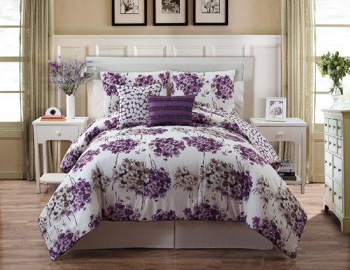 5 Piece Purple And White Reversible Comforter Set Bed In A Bag Queen Sixe Beddin By Plush C Collection front-105970
