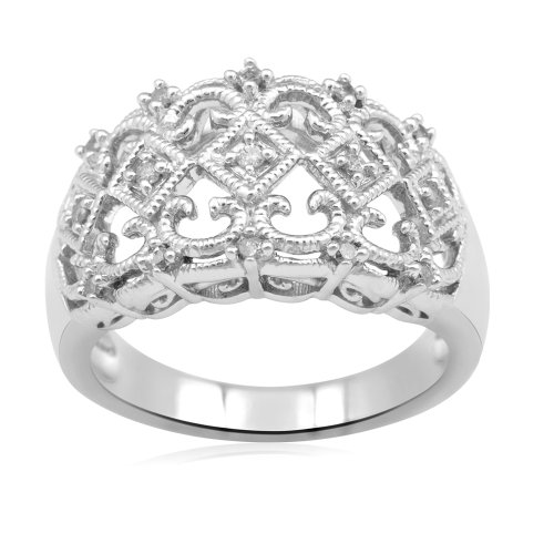 Sterling Silver Diamond Ring (1/6 cttw, I-J Color, I2-I3 Clarity), Size 8