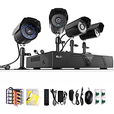 ELEC® New 4Ch Channel CCTV HDMI 960H H.264 Real-time DVR + 4 700TVL Night Vision Outdoor Cameras Security Surveillance Camera System 3G Mobile Live View (No Hard Drive)