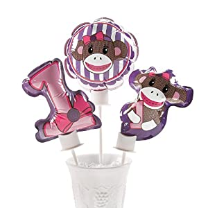 Miss Sock Monkey Self Inflating Mylar Balloons - 1 Dozen at 'Sock Monkeys'