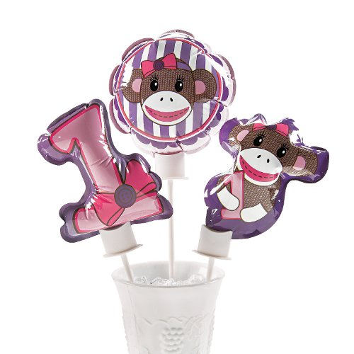 Miss Sock Monkey Self Inflating Mylar Balloons - 1 Dozen at 'Sock Monkeys'