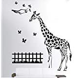 Hoopoe Decor Giraffe With Butterfly Wall Stickers And Wall Decals, Best Wall Arts For Home Decoration - Black
