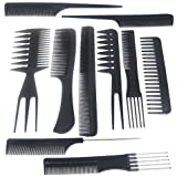 Accessotech 10 Piece Salon Hair Styling Hairdressing Hairdresser Barbers Plastic Combs Set