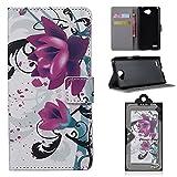 Fierella LG L Bello 2 5.0 Zoll Hülle Case Lotus Muster PU