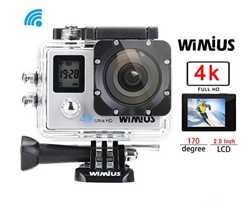 Action Kamera 4k WiMiUS Dual Bildschirm Action Cam WiFi Actioncam HD 16MP Wasserdichte Helmkamera 40M mit 2 Akkus(Q4)