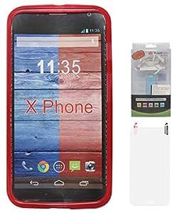 DMG Flexible Soft Matte TPU Back Cover Case for Motorola Moto X XT1058 (Red) + 2200 mAh PowerBank + Matte Screen