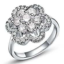 buy [Zircon Series] Gorgeous Women'S Flower Shaped 925 Sterling Silver Plated Clear Sparkling Zirconia Inlaid Promise Wedding Rings Size 6, 7, 8, 9 [Mr.Tie] Women Fashion Jewelry