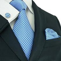 "Landisun Solids Mens Silk Tie Set: Tie+Hanky+Cufflinks 11A Light Blue, 3.75""Wx59""L"