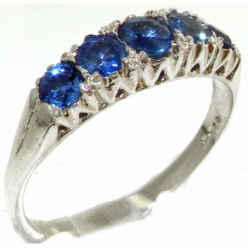 Solid English Sterling Silver Natural Blue Sapphire Vintage Style Ring - Size 11.75 - Finger Sizes 4 to 12 Available - Suitable as an Anniversary ring, Engagement ring, Eternity ring, or Promise ring