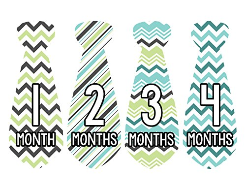 Months in Motion 729 Monthly Baby Stickers Necktie Tie Baby Boy Months 1-12