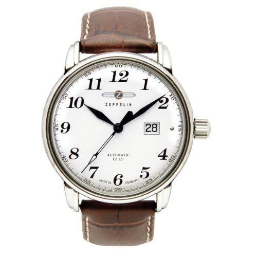 Zeppelin Men's Automatic Watch LZ127 Graf Zeppelin 76521S with Leather Strap