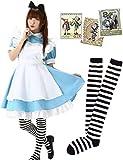 Eiza ニーハイ 付き アリス メイド 服 可愛いアリスの切手70枚セット カチューシャ (XL)