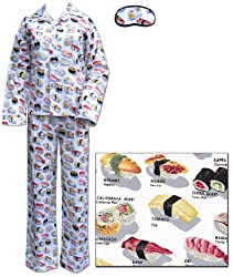 The Cat's Pajamas White Sushi Women's Cotton Pajama 1X