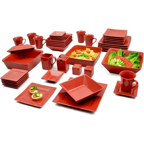 Red 45-Piece Dinnerware Set, Service For 6. Porcelain Banquet Set Is Oven, Microwave & Dishwasher Safe..Sale. This Set Has Everything. Plates Salad / Dessert And Dinner, Cup And Saucer, Sauce Dish, Soup Bowls, Serving Bowls, Even Salt & Pepper Shaker