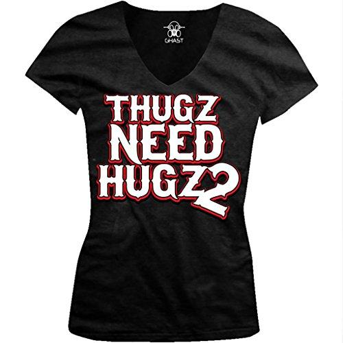 Thugz Need Hugz 2 Ladies Junior Fit V-Neck T-Shirt, Hilarious Thugs Need Hugs Too Design Junior'S V-Neck Tee (Black, Small)
