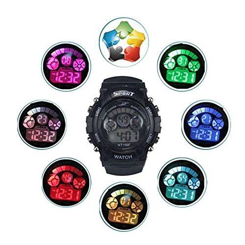 Bestpriceam (Tm) Boys Girls Alarm Date Sport Waterproof Led Light Wrist Watch Black