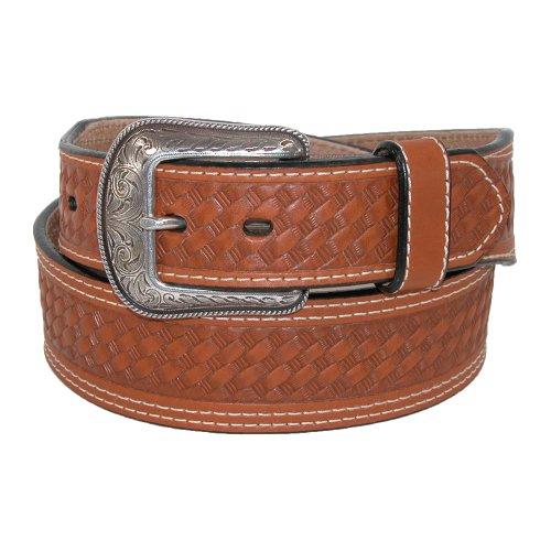 3 D Belt Company Mens Leather Tapered Ends Western Basketweave Belt, 46, Brown