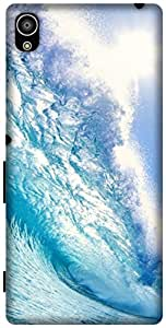 The Racoon Grip printed designer hard back mobile phone case cover for Sony Xperia Z5. (blue wave)
