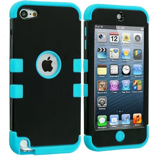 Cell Accessories For Less (Tm) Baby Blue / Black Hybrid Tuff Hard/Soft 3-Piece Case Cover For Apple Ipod Touch 5Th Generation + Bundle (Stylus & Micro Cleaning Cloth) - By Thetargetbuys front-851745