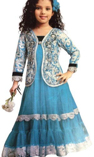 Girl's Partywear Blue Long Gown/Frock for Girl's, Indian Clothing