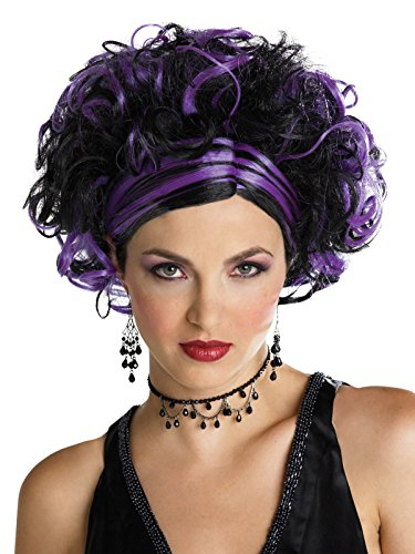 Women Purple and Black Updo Wig with Tight Ringlet Curls and Slicked Down Bangs